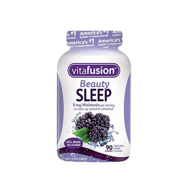 Kẹo dẻo ngủ ngon Vitafusion Beauty Sleep vị mâm xôi, Chai 90 viên