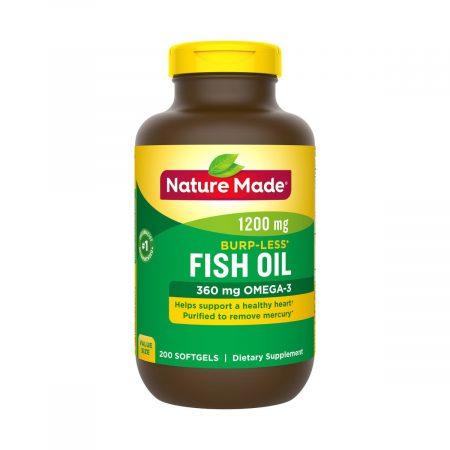 Fish Oil Nature Made 1200mg dầu cá Omega 3, Chai 200 viên