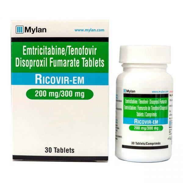 Ricovir EM Thuốc kháng Virus điều trị HIV, Chai 30 viên