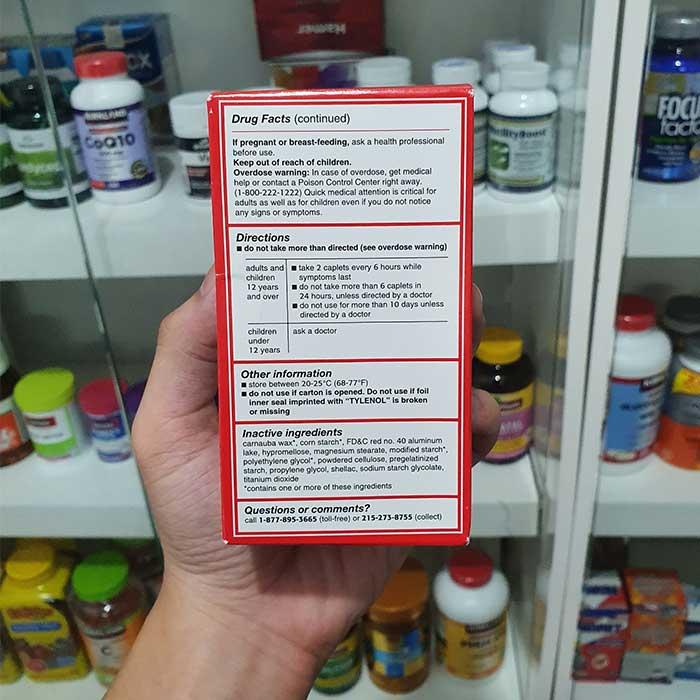 Thuốc giảm đau, hạ sốt Tylenol Extra Strength 500mg, Hộp 225 viên